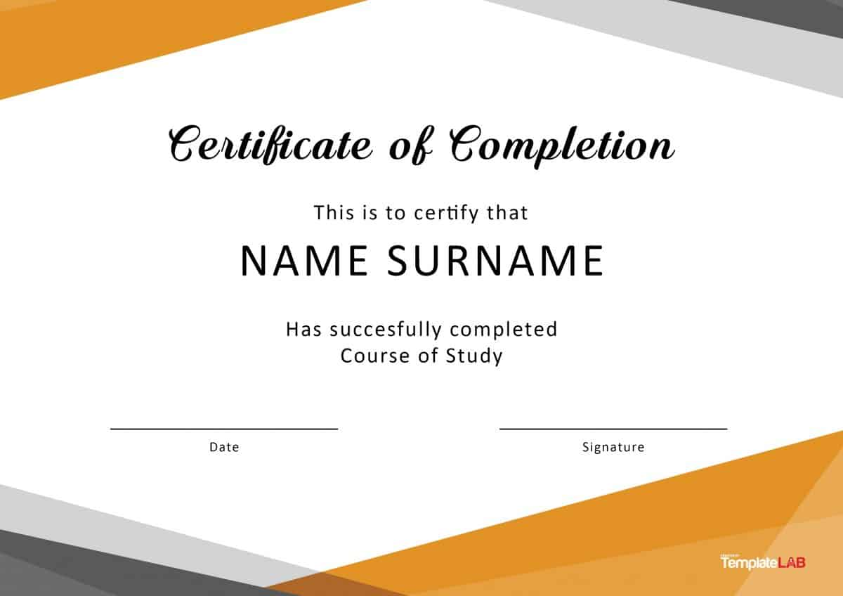 Certificate Of Completion Template Free Printable 9