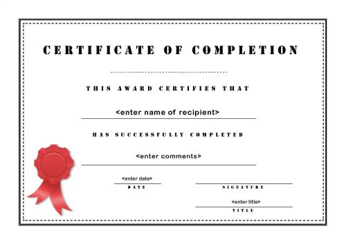 Certificate Of Completion Template Word 0