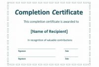 Certificate Of Completion Template Word 13