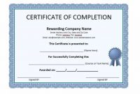 Certificate Of Completion Template Word 2
