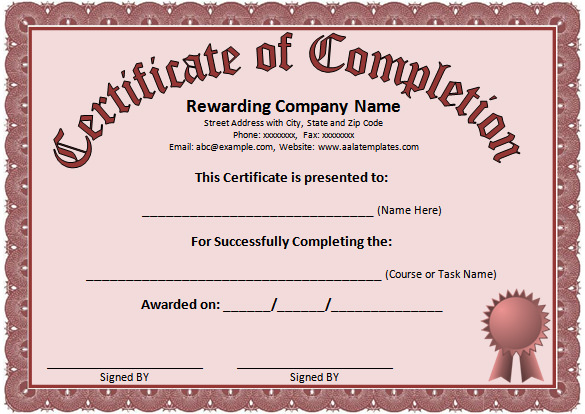 Certificate Of Completion Template Word 6