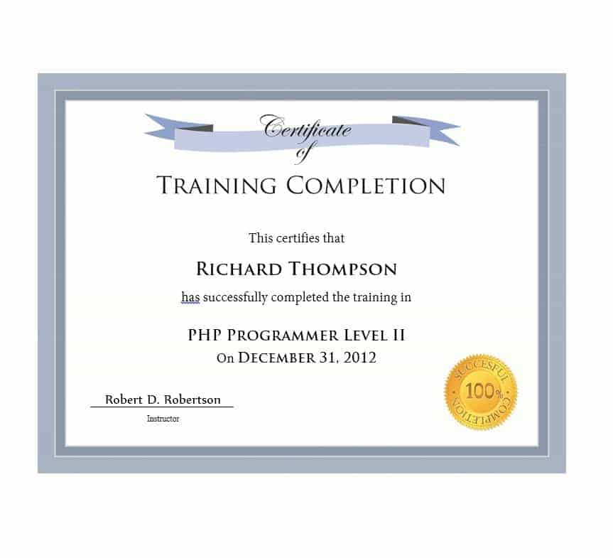 Certificate Of Completion Word Template 0