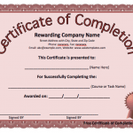 Certificate Of Completion Word Template