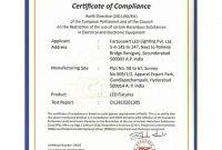Certificate Of Compliance Template 0