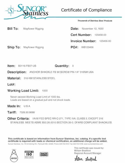 Certificate Of Compliance Template 8
