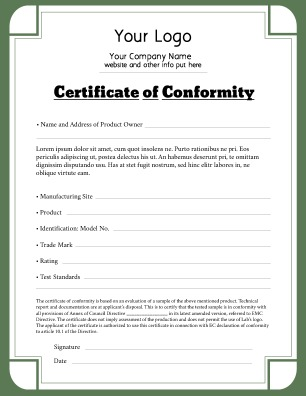 Certificate Of Conformance Template 6