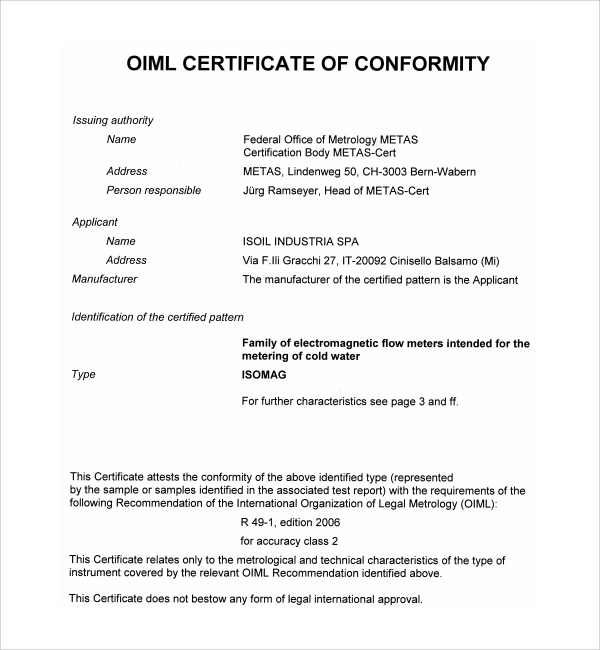 Certificate Of Conformity Template Free 1