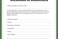 Certificate Of Conformity Template Free 4