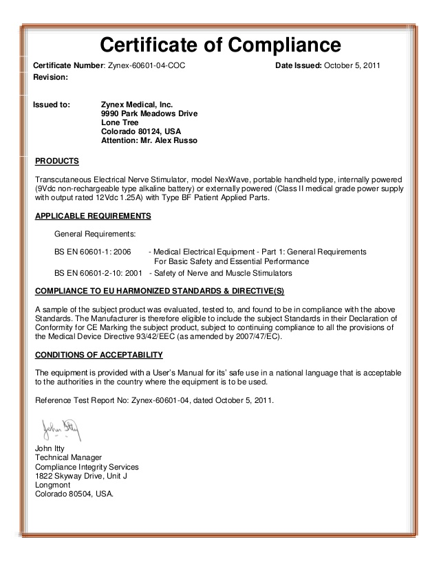 Certificate Of Conformity Template Free 7