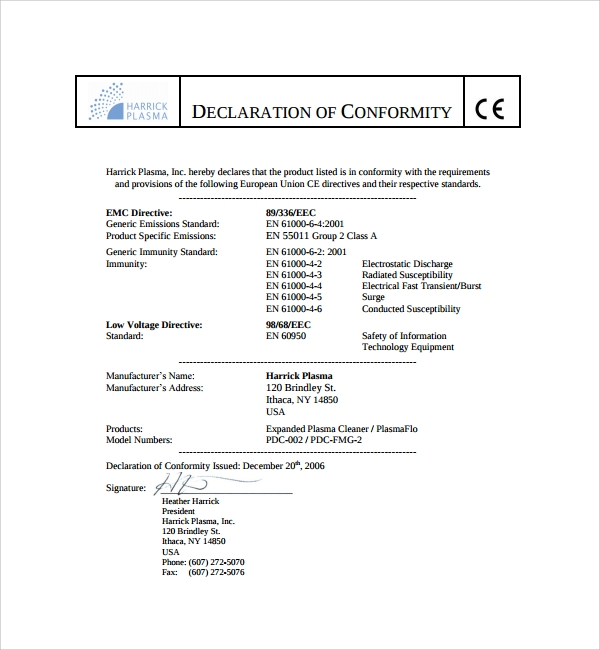 Certificate Of Conformity Template Free 9