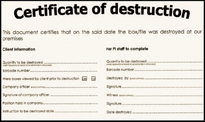Certificate Of Destruction Template 2