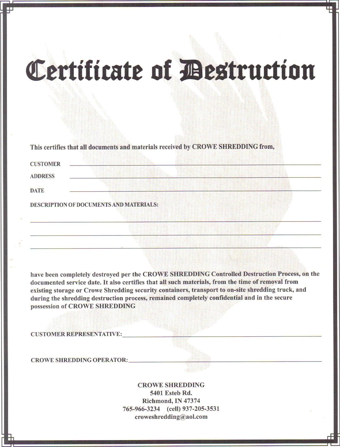 Certificate Of Destruction Template 4