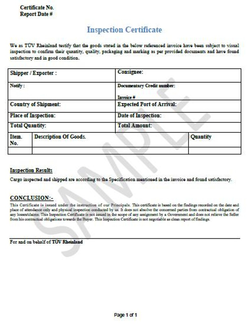 Certificate Of Inspection Template 3