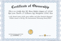 Certificate Of Ownership Template 2