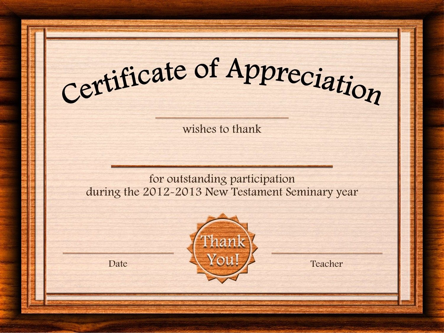 Certificate Of Recognition Word Template 4