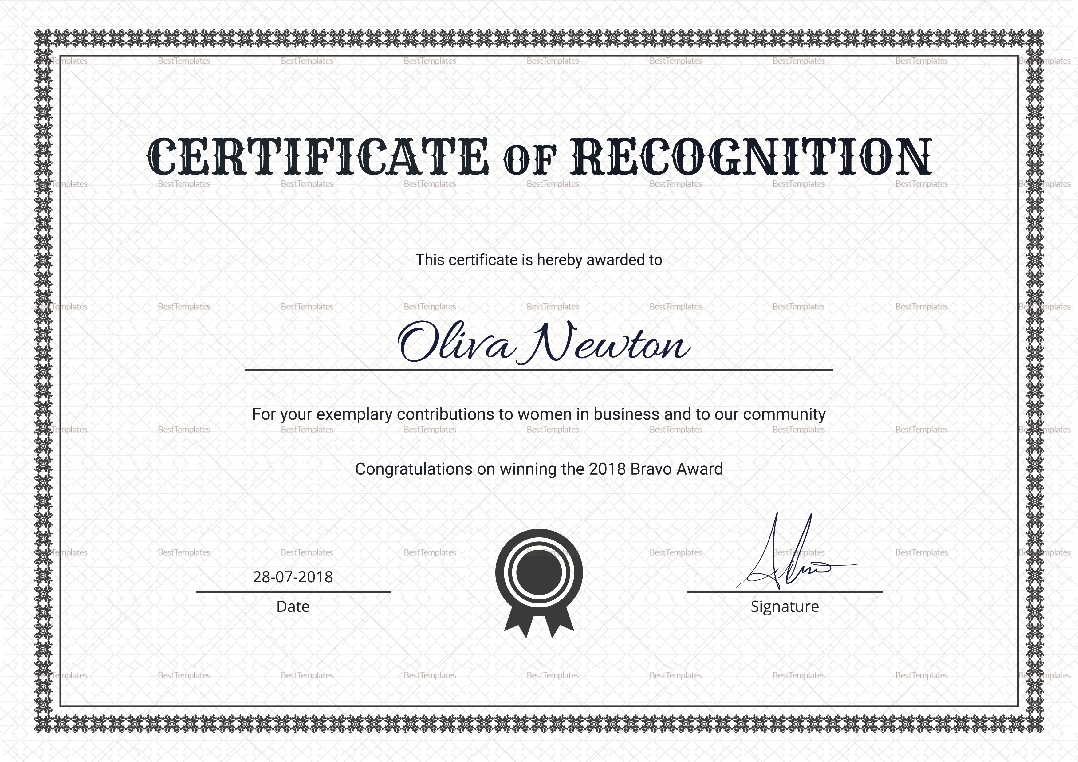 Certificate Of Recognition Word Template 8