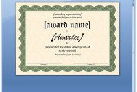 Certificate Of Recognition Word Template 9