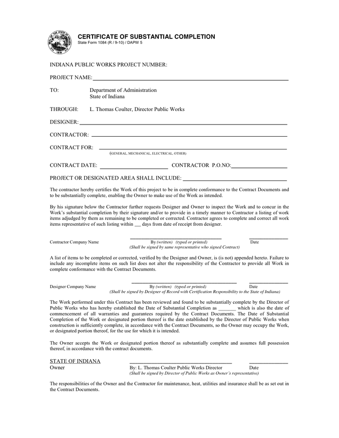 Certificate Of Substantial Completion Template 3