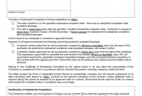 Certificate Of Substantial Completion Template 6
