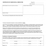Certificate Of Substantial Completion Template
