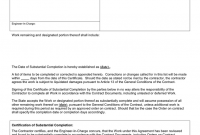 Certificate Of Substantial Completion Template 7