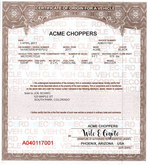Certificate Of Origin For A Vehicle Template5