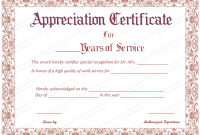 Certificate for Years Of Service Template6