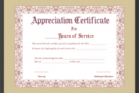 Certificate for Years Of Service Template7