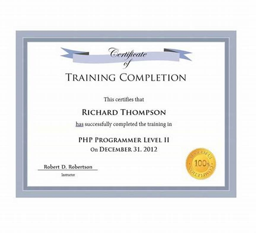 Certification Of Completion Template 4