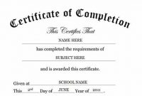 Certification Of Completion Template 9