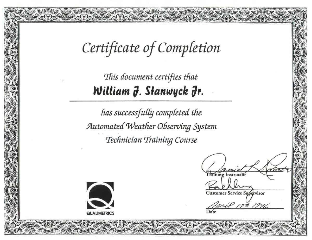 Certification Of Completion Template B8