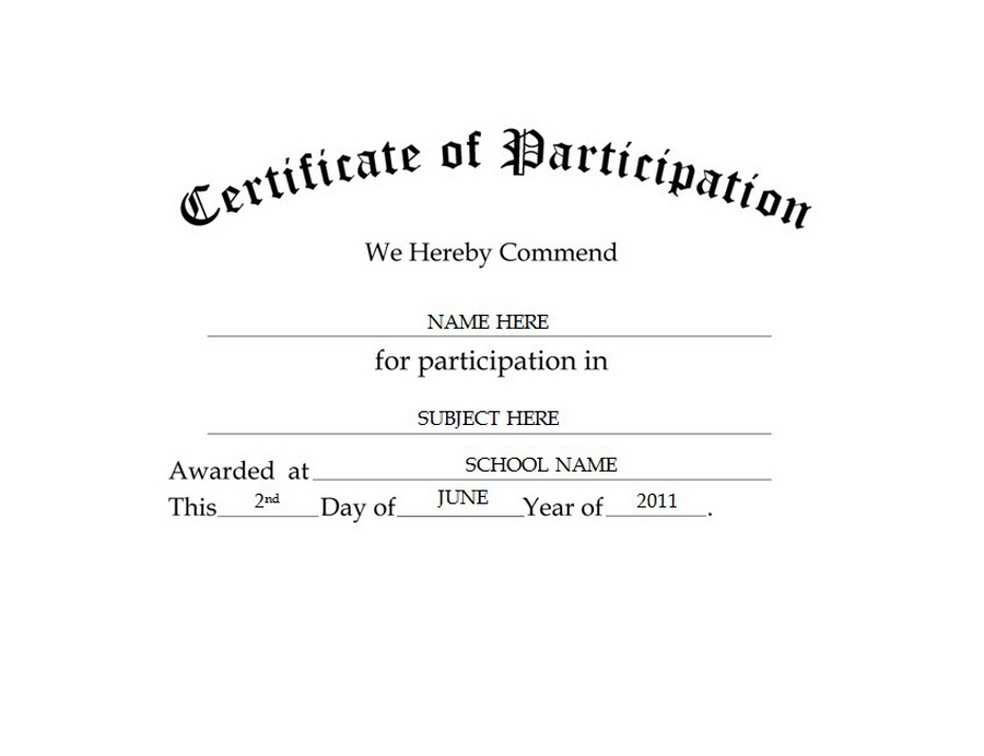 Certification Of Participation Free Template 11