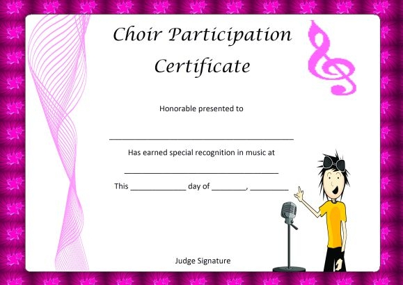 Choir Certificate Template 10