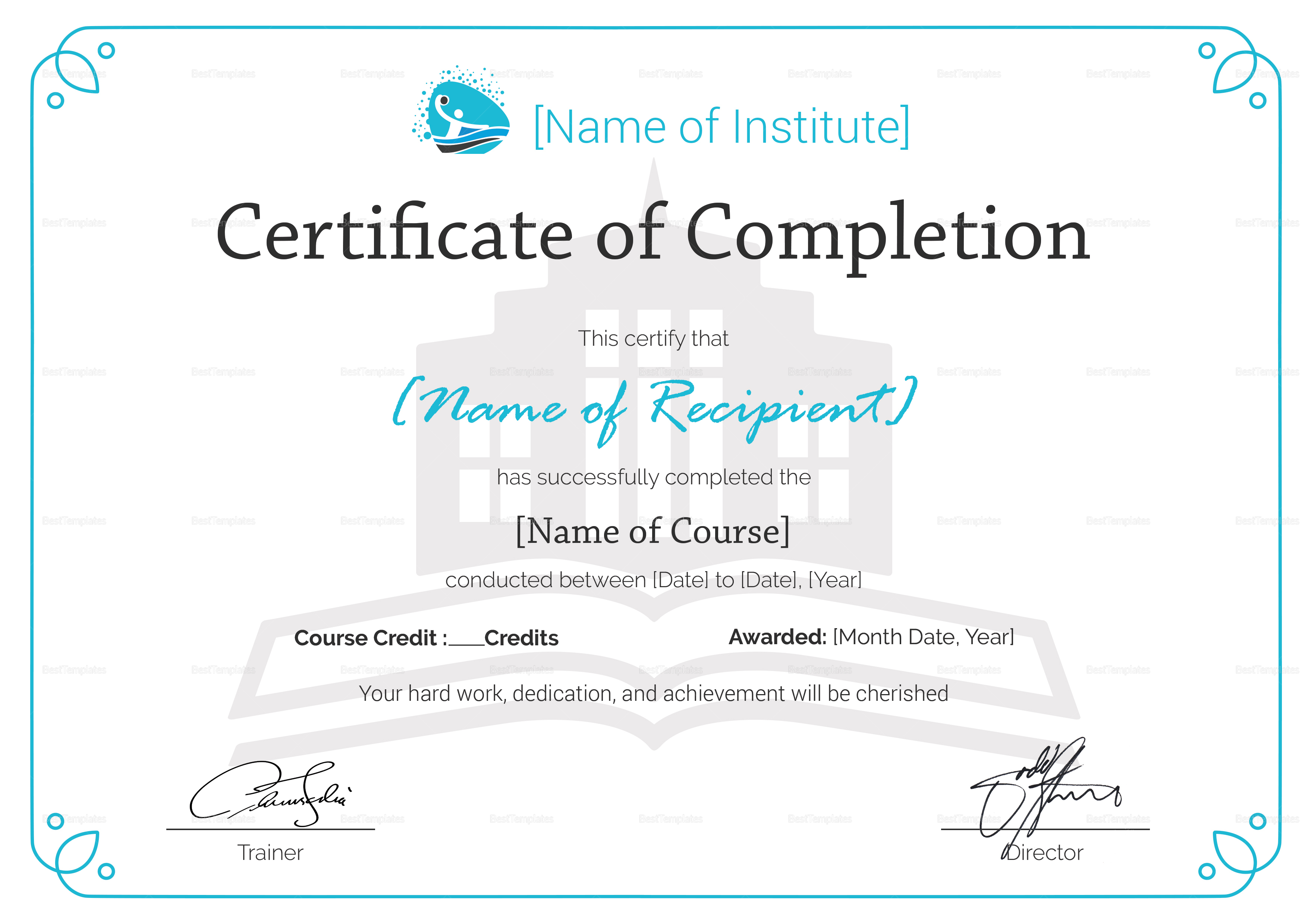 Class Completion Certificate Template 3