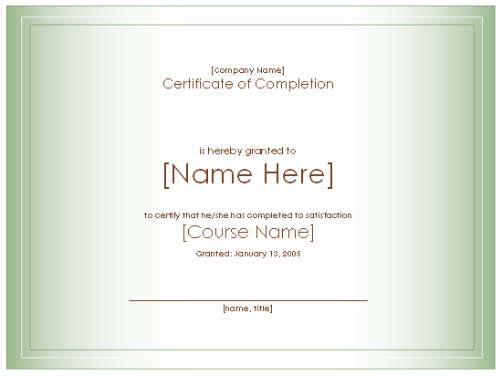 Class Completion Certificate Template 5