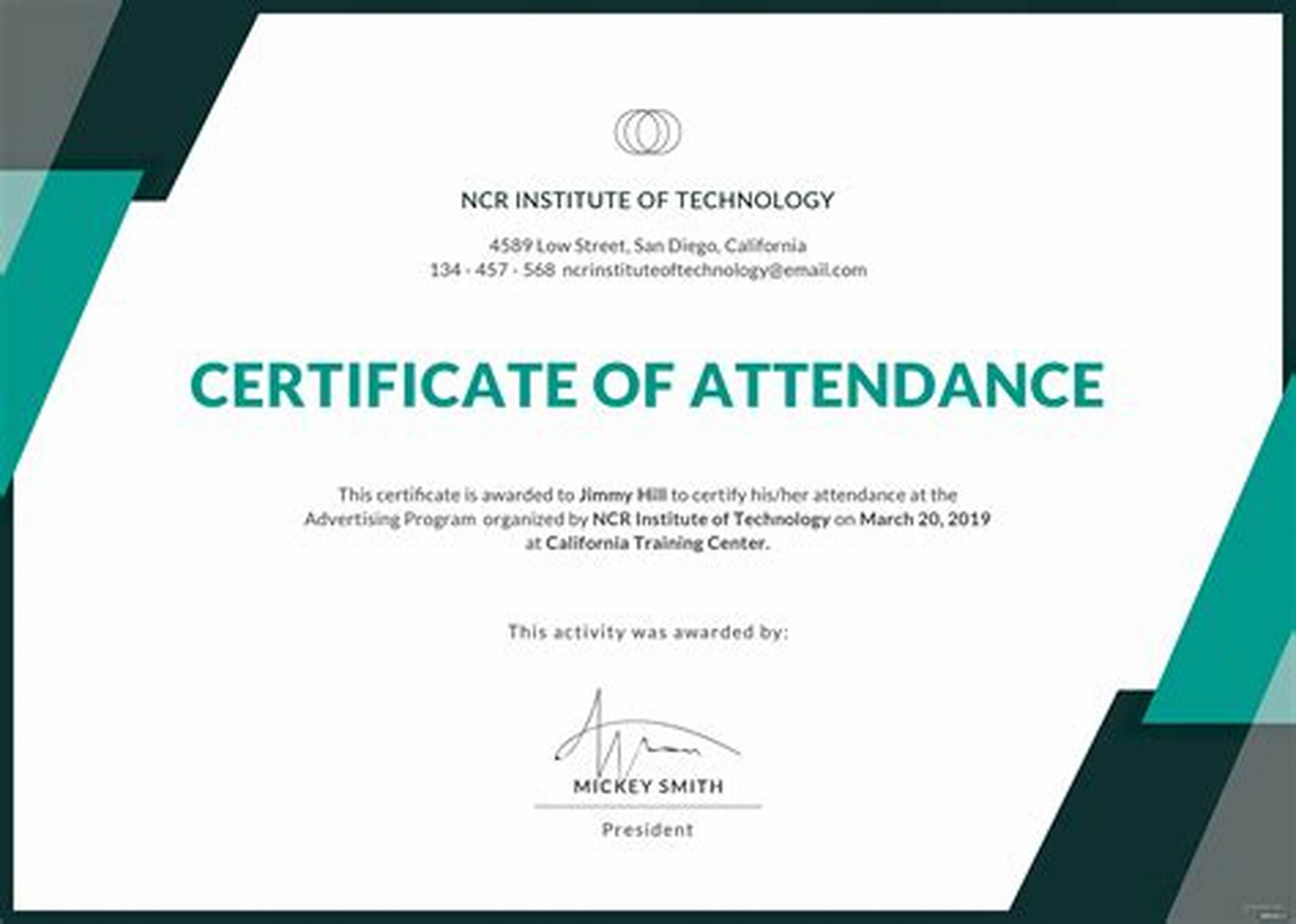 Conference Certificate Of Attendance Template 6
