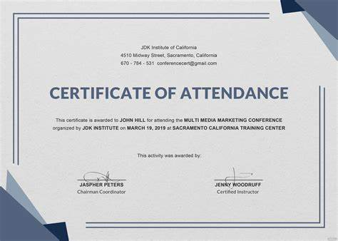 Conference Certificate Of Attendance Template V3