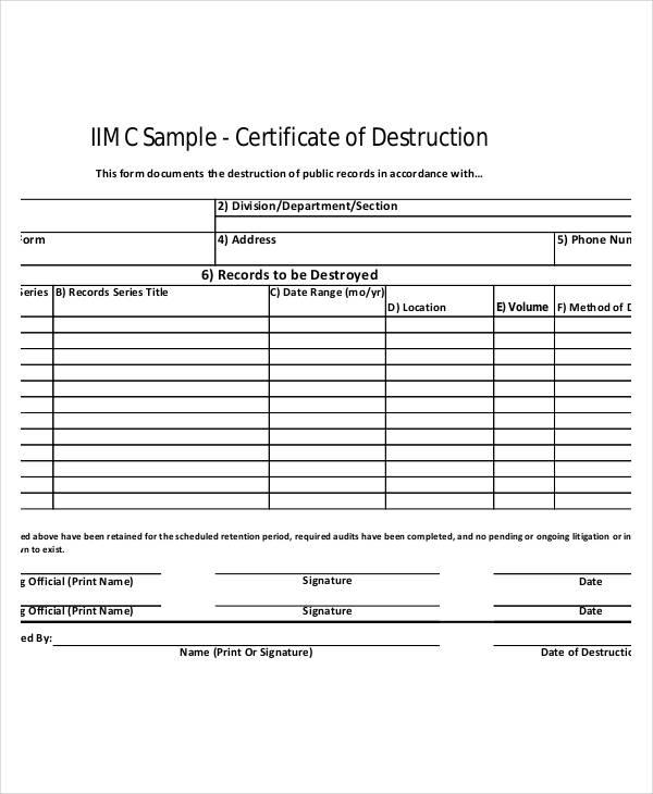 Destruction Certificate Template 5