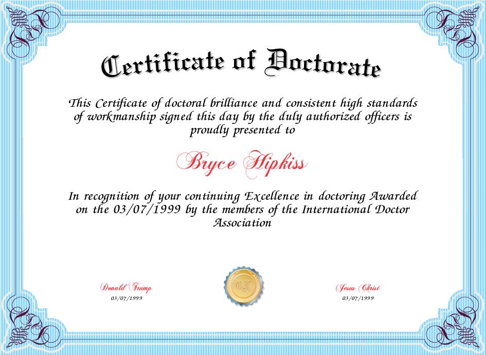 Doctorate Certificate Template 5