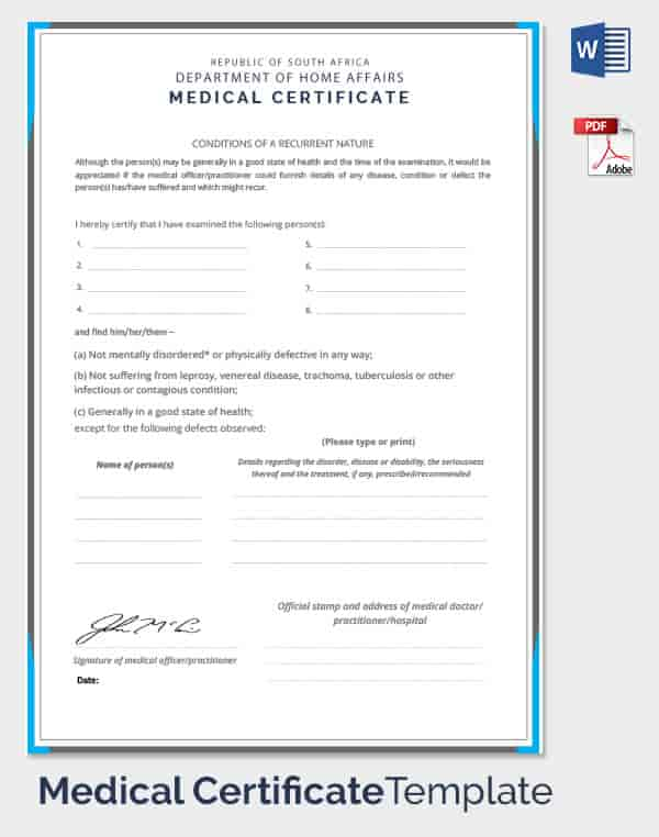 Fake Medical Certificate Template Download 3