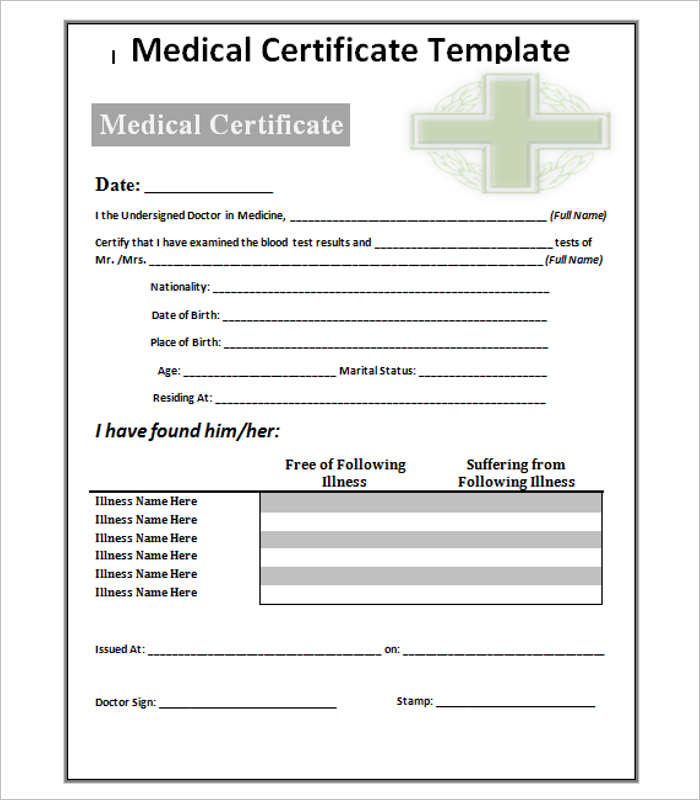 Fake Medical Certificate Template Download 9