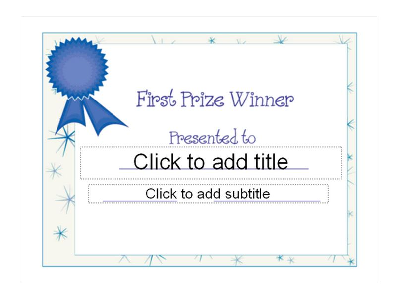 First Place Award Certificate Template 3