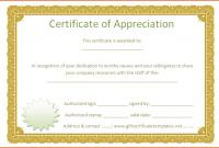 Formal Certificate Of Appreciation Template 0