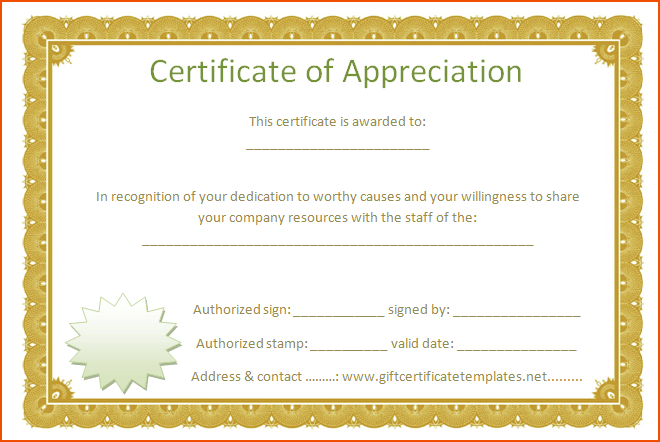 Formal Certificate Of Appreciation Template 0