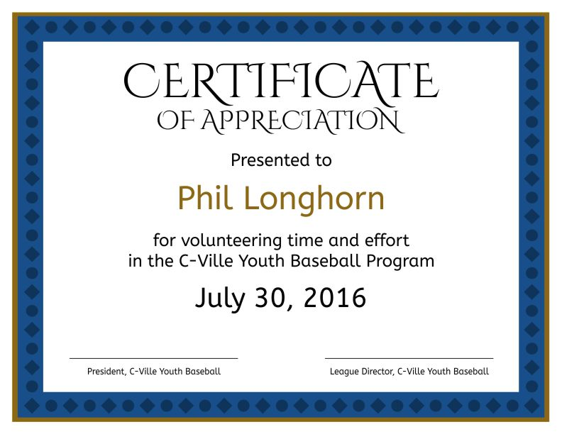 Formal Certificate Of Appreciation Template 2