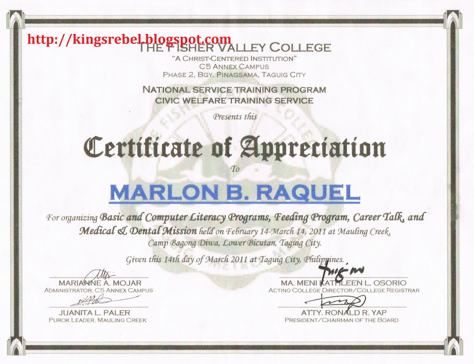 Formal Certificate Of Appreciation Template 8
