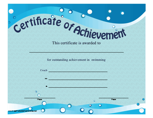 Free Swimming Certificate Templates 7