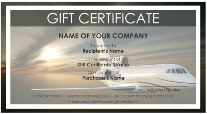 Free Travel Gift Certificate Template 1