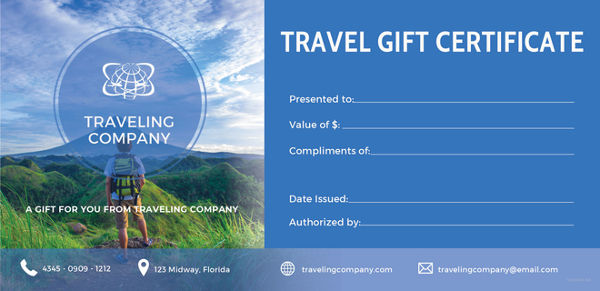Free Travel Gift Certificate Template 2