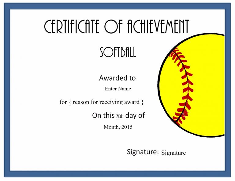 Free Softball Certificate Templates 0